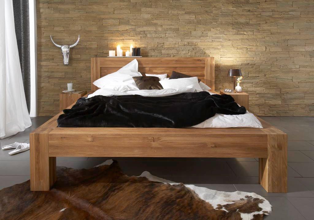 Holzbett Balder 180 X 200 Cm Aus Massiver Wildeiche Bett Aus