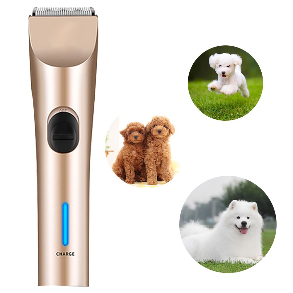 Dog Silent Shavers Groomer, Triumilynn Low Noise Rechargeable Cordless Pet Hair Clippers, Cat Trimmer with Safety Blade, 4 Size Combs Attachment, for Small Medium and Large Dogs Cats BAORUN