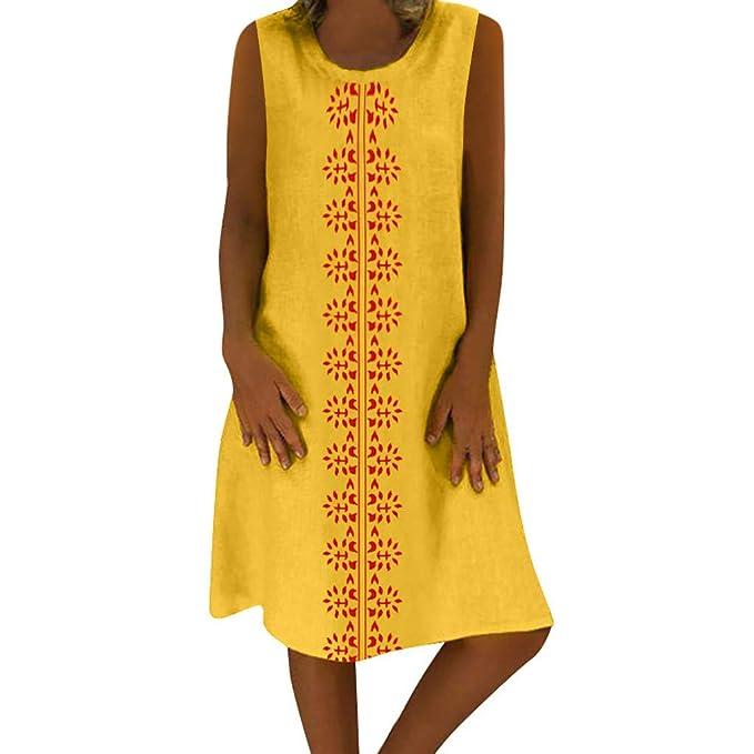 VEMOW Falda Larga Mujer Vestido de Mujer de Estilo Veraniego con Cuello en V de algodón y Lino Informal y de Talla Grande para Mujer