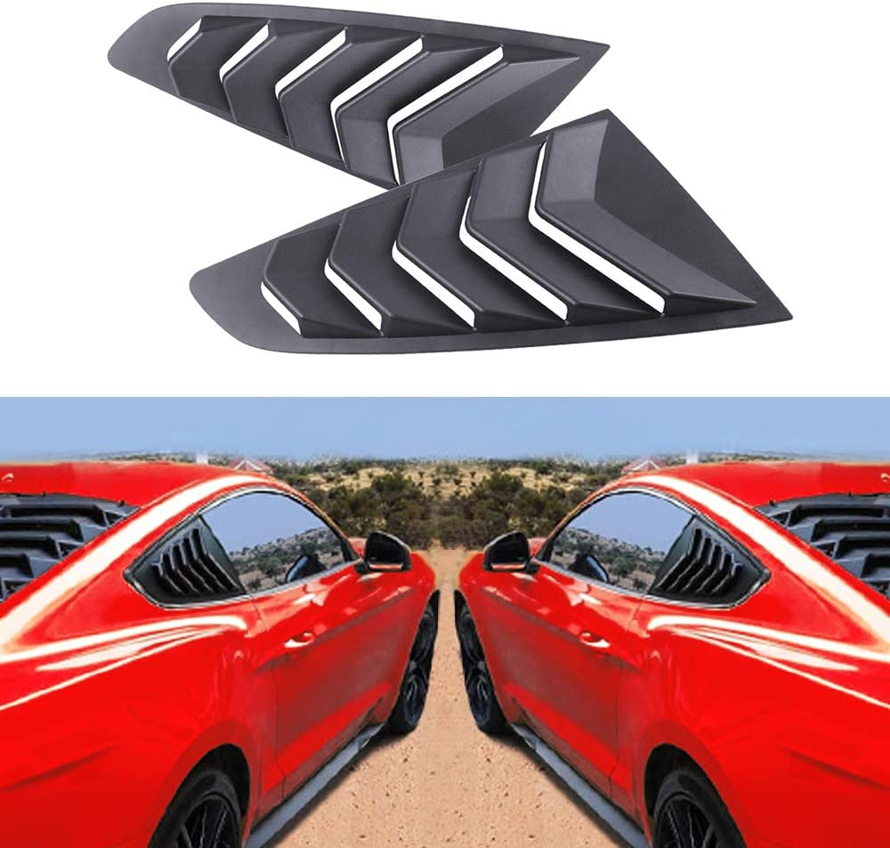 Dixuan Auto Parts Side Window Louvers Windshield Sun Shade Cover for Ford Mustang 2015-2020 in GT Lambo Style ABS Matte Black