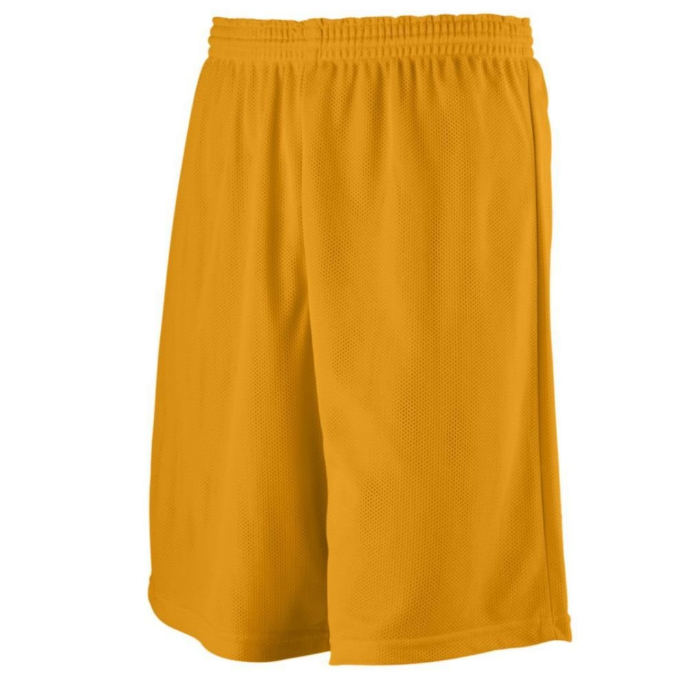 Augusta Activewear Longer Length Mini Mesh League Short, Gold, Small