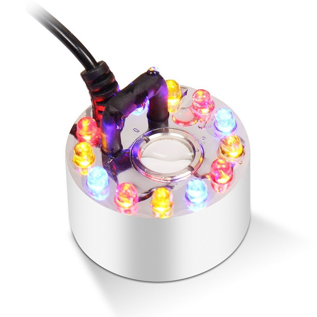WHMING Color Changing 12 LED Mini Mist Maker Fogger Water Fountain Pond Fog Machine Atomizer Air Humidifier (Aluminum with 12 LED)