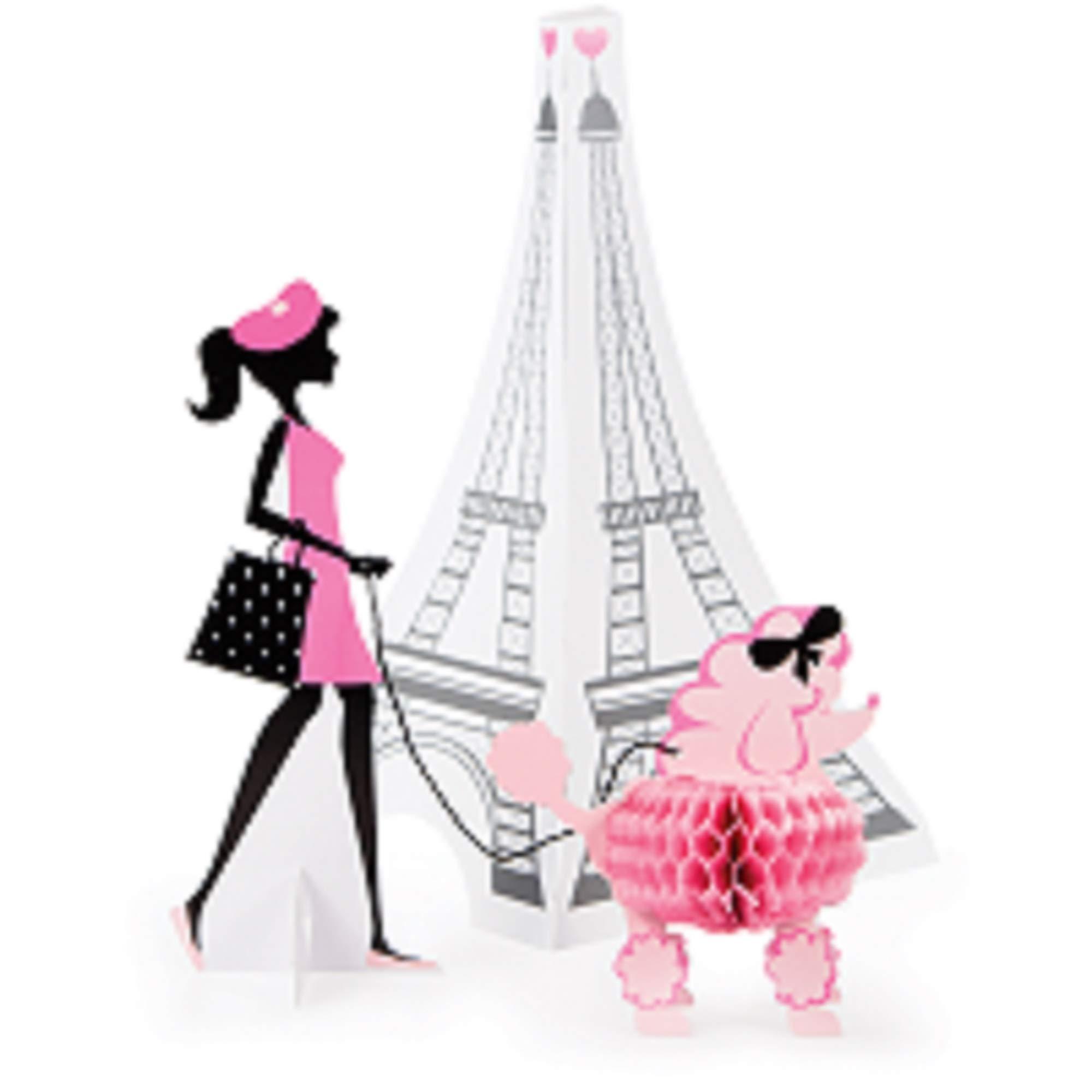 Set of 6 Black and Pink Paris Themed Centerpiece Party Decoration - 13.5''