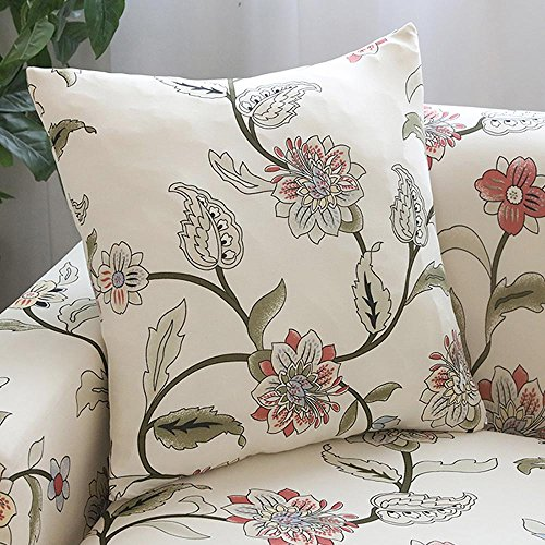 Lamberia Throw Pillow Covers Square Throw Pillowcases and Shams, Sofa Couch Covers Home Decor, 18 X 18 Inch, Set of 4 (Blooming Flower) (For With Pillows Slipcover Couch)