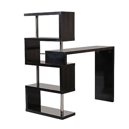 Homcom Modern High Gloss Bar Counter Beverage Table Storage Display Wooden  Shelf Shelving Room Divider (