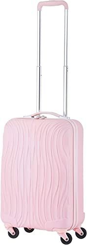 Cabin size 20 luggage wave style Baby Pink with USB plug size suite for all airlines