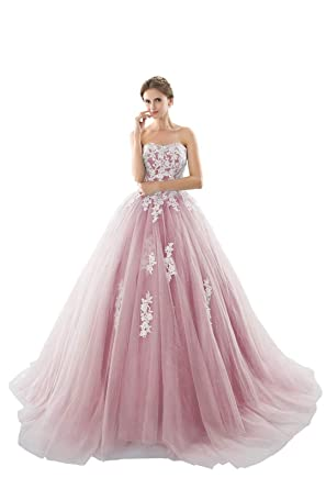 635b96540 Image Unavailable. Image not available for. Color  Honeywedding Floor  Length Sweet 16 Quinceanera Dresses Strapless Lace Tulle Beads Prom Ball  Gowns