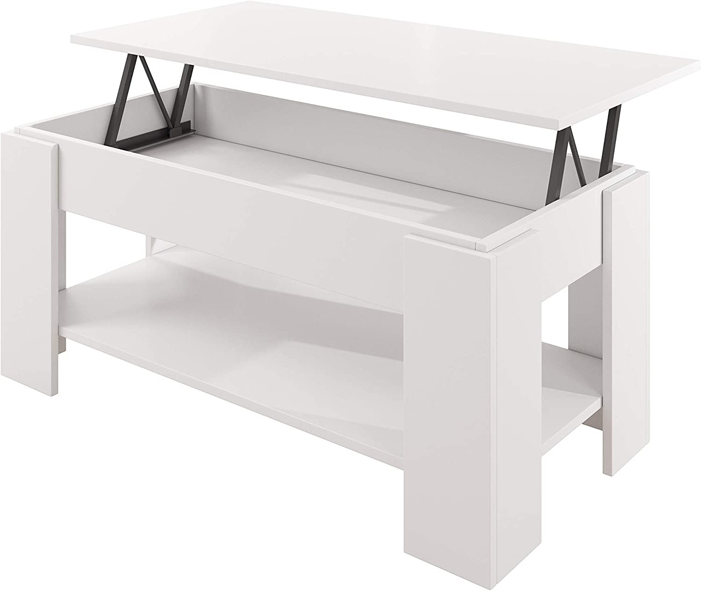 muebles bonitos Mesa de Centro elevable Nicoleta Color Blanco