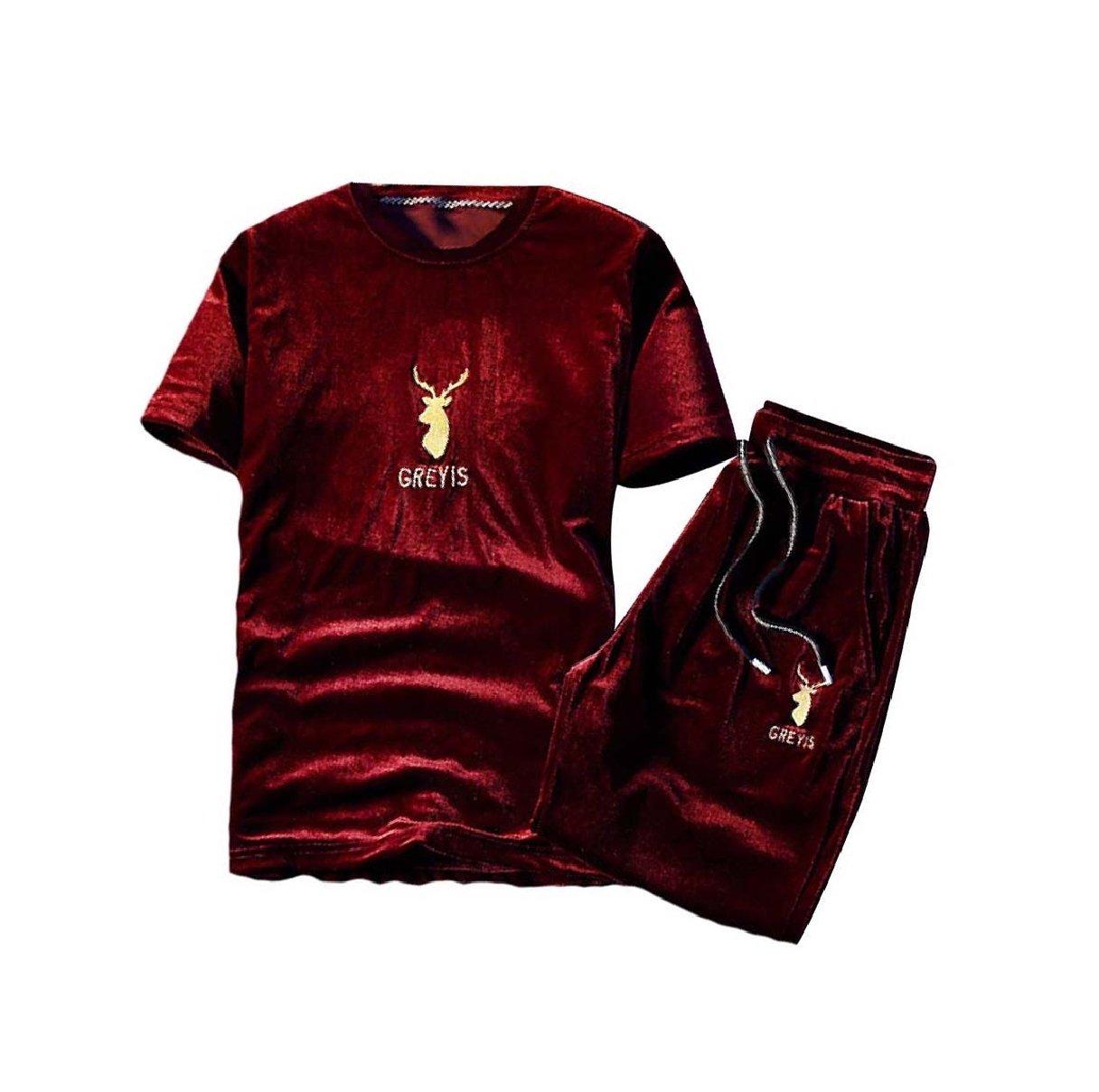 Tootless-Men Summer Half Pants Relaxed Short-Sleeve Velvet Sweatsuit Set Red L