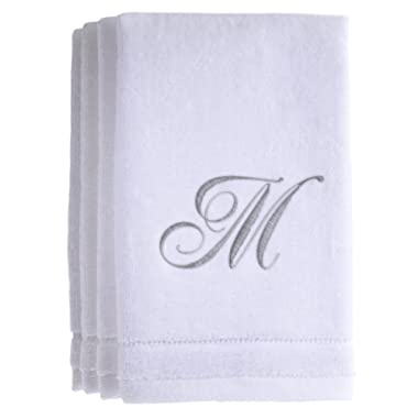 Monogrammed Towels Fingertip, Personalized Gift, 11 x 18 Inches - Set of 4- Silver Embroidered Towel - Extra Absorbent 100% Cotton- Soft Velour Finish - For Bathroom/ Kitchen/ Spa- Initial M (White)