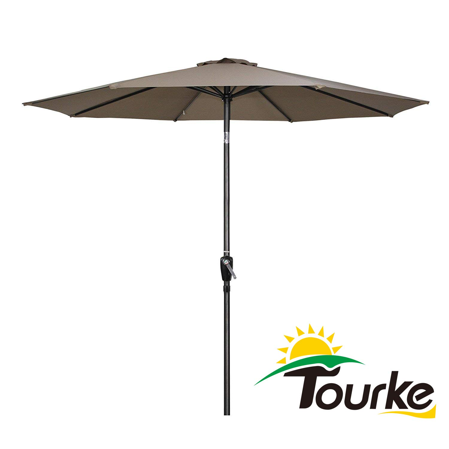 Tourke 9 Ft Patio Umbrella Outdoor Table Umbrella Crank, 8 Rids, Push Button Tilt, for Garden, Deck, Backyard, Swimming Pool and More Taupe