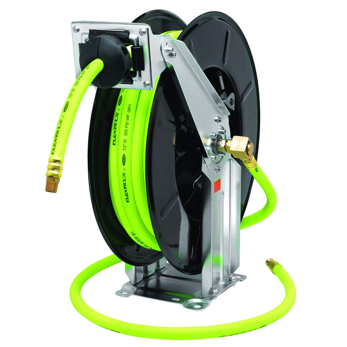 Flexzilla Retractable Open Face Dual Arm Air Hose Reel, 1/2 in. x 50 ft, Heavy Duty, Lightweight, Hybrid, ZillaGreen - L8741FZ