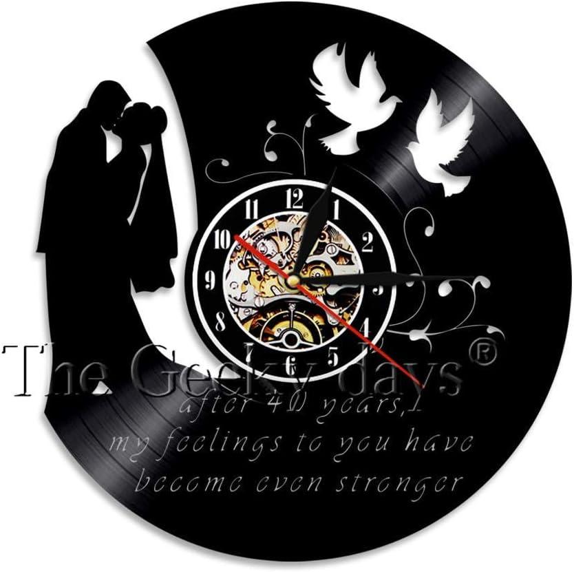 LTOOD Reloj de Pared Personalizado para Aniversario de Boda de 1 año, Primer Aniversario de Matrimonio, Regalo para él, Reloj Personalizado para decoración del hogar, sin LED