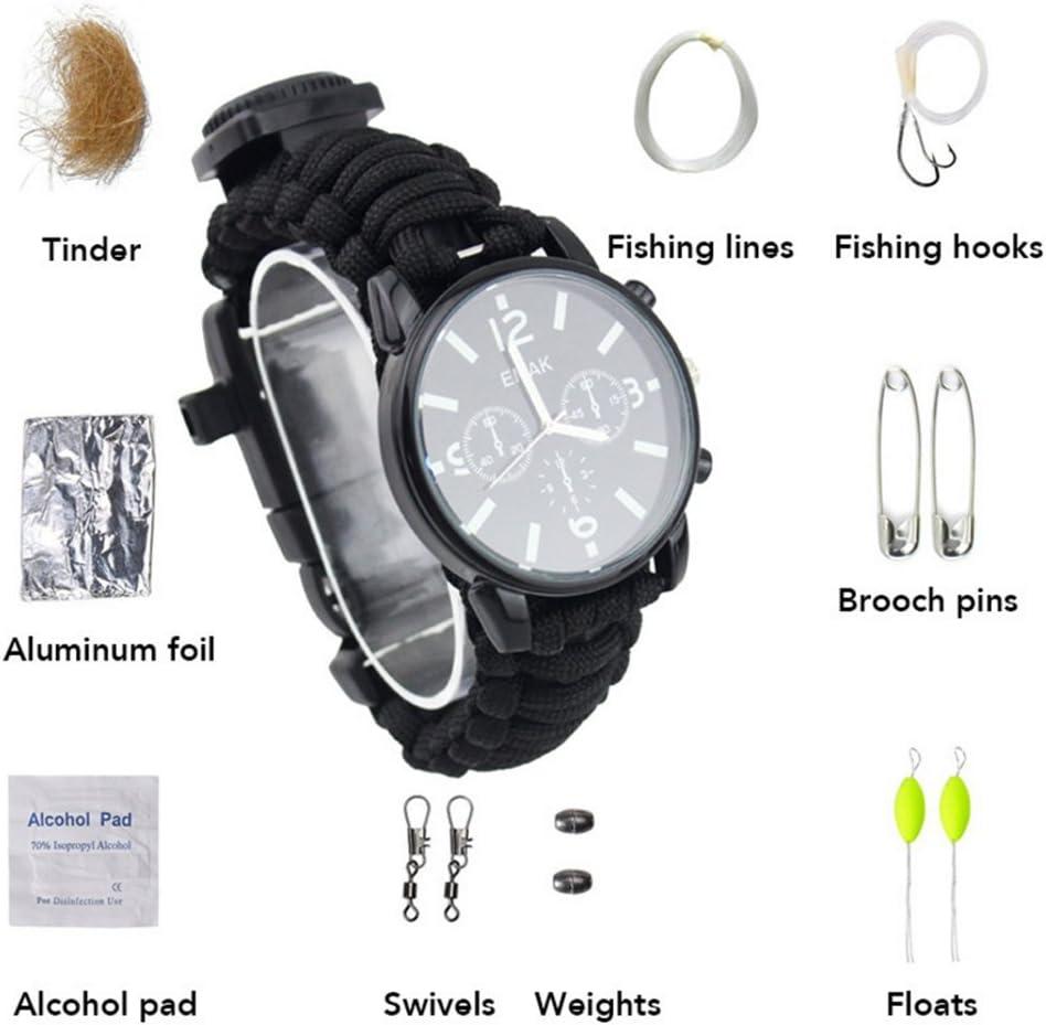 ZENDY 16 en 1 cuerda de Paracord con el reloj y el firestarter de la pulsera, silbido, compás, kit de la pesca, kit de supervivencia, herramientas al aire libre de múltiples funciones de la superviven