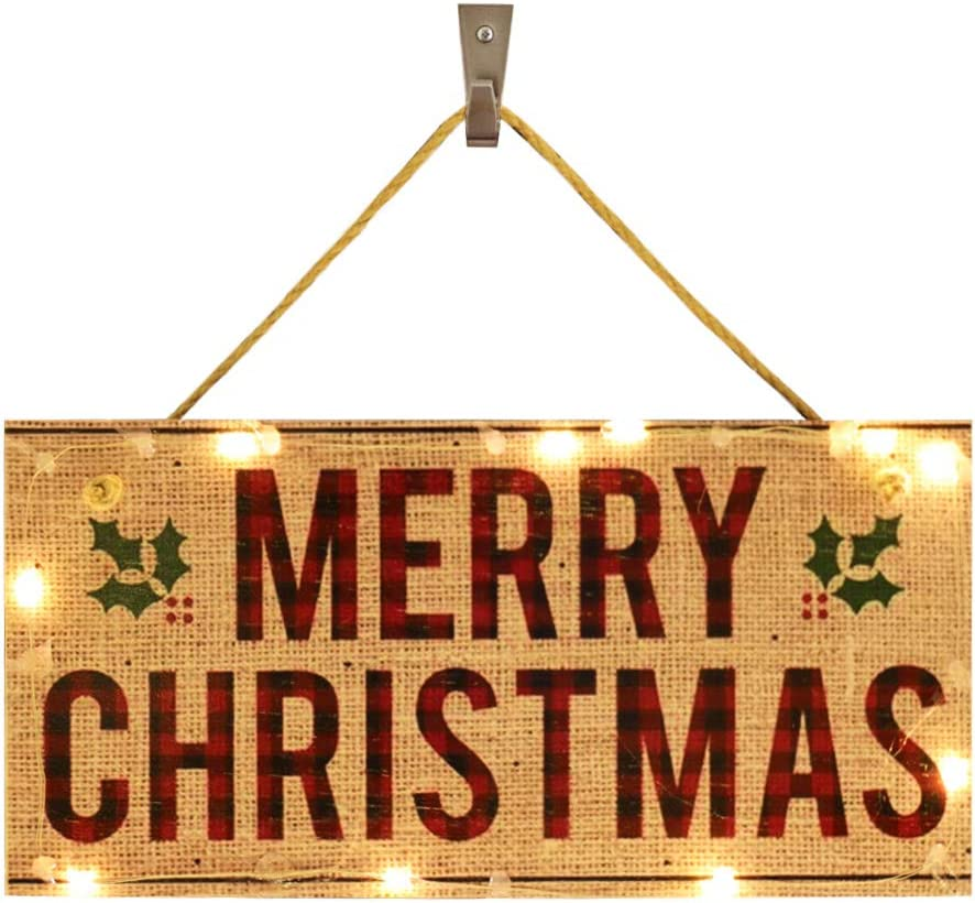 OYEFLY Hanging Lighted Glowing Merry Christmas Sign, Wood Plank Design Hanging Sign (style 8)
