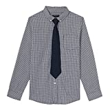 French Toast Boys' Long Sleeve Dress Shirt with Tie, Navy, 5
