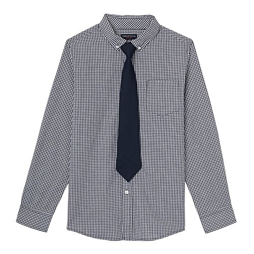 French Toast Boys' Long Sleeve Dress Shirt with Tie, Navy, 5 by French Toast