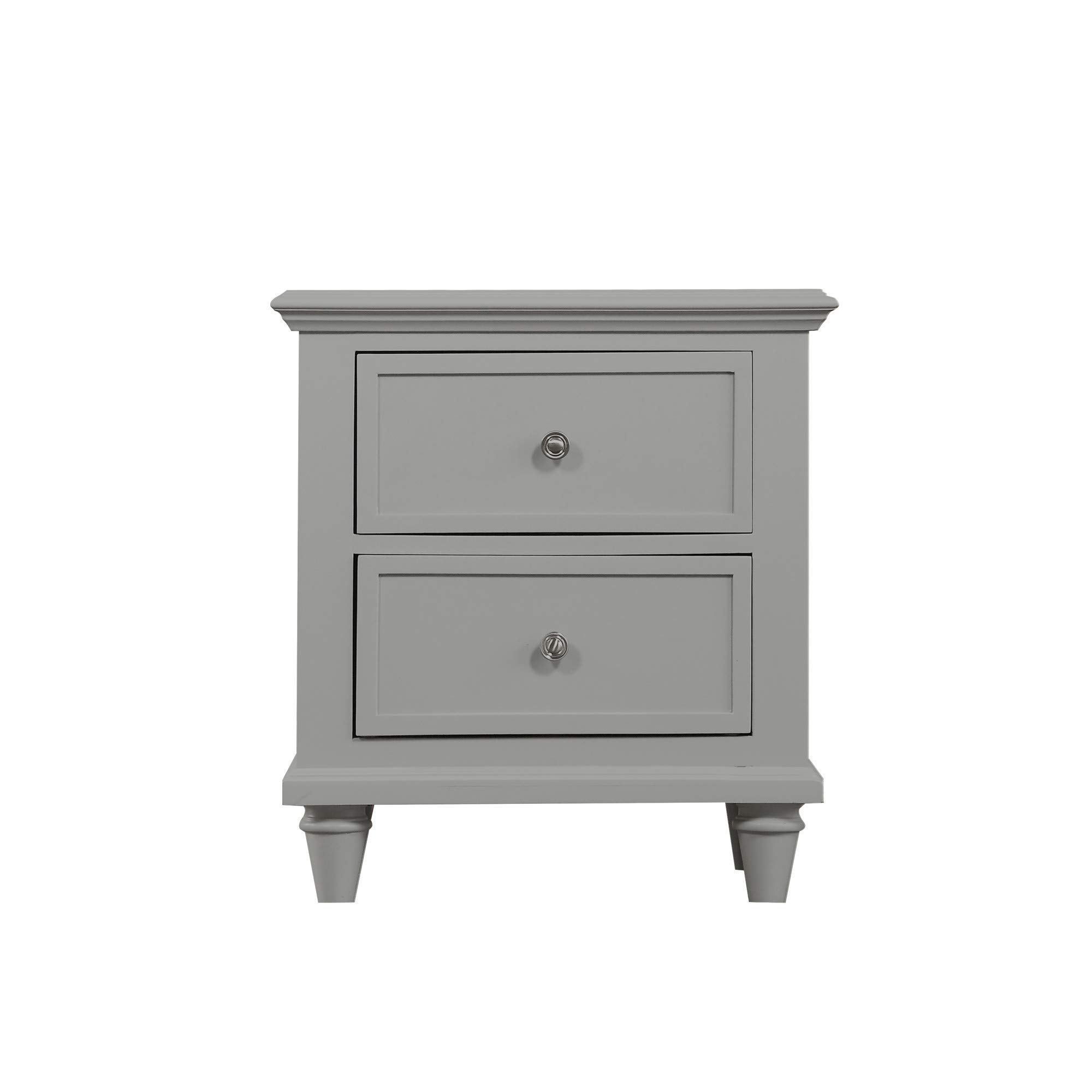 Lona 2-drawer Nightstand in Cinder Block Gray with Turned Wood Legs And Brushed Nickel Hardware, by Artum Hill