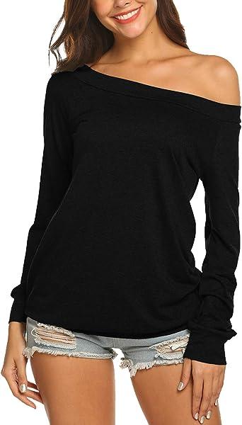Women Off Shoulder Long Sleeve Blouse Tee Ladies Casual Slim Fit Tops T-Shirt CH