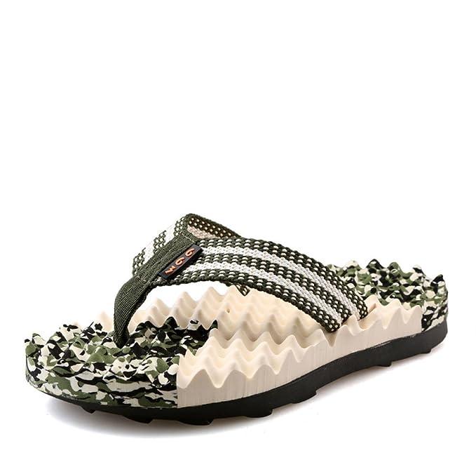 Zapatillas De Verano De Los Hombres Sandalias De Flip Flop Zapatillas De Masaje Beach Slide Water Shoes,Green-44: Amazon.es: Ropa y accesorios
