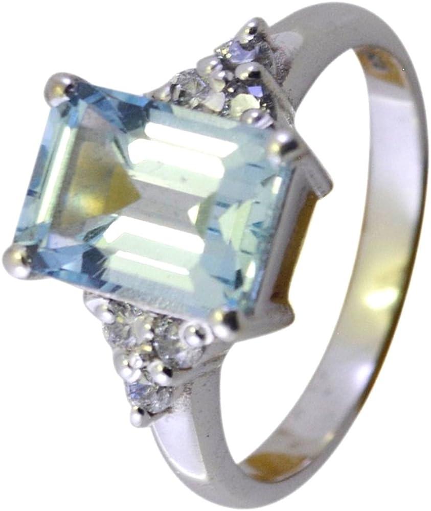 55Carat Natural Blue Topaz Ring Silver Rectangle Shape Size US 5,6,7,8,9,10,11,12 for Men Women