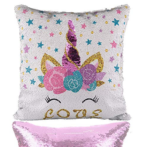 (Unicorn Mermaid Scale Sequins Pillow Case Reversible Star Throw Cushion Cover Decor for Christmas, Birthday Party, Purple Pillowcase, 16