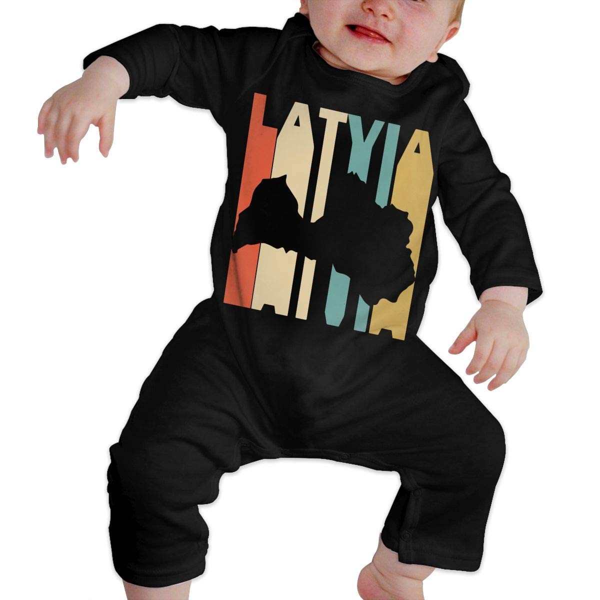 Long Sleeve Cotton Rompers for Unisex Baby Fashion Retro Style Latvia Silhouette Playsuit Black