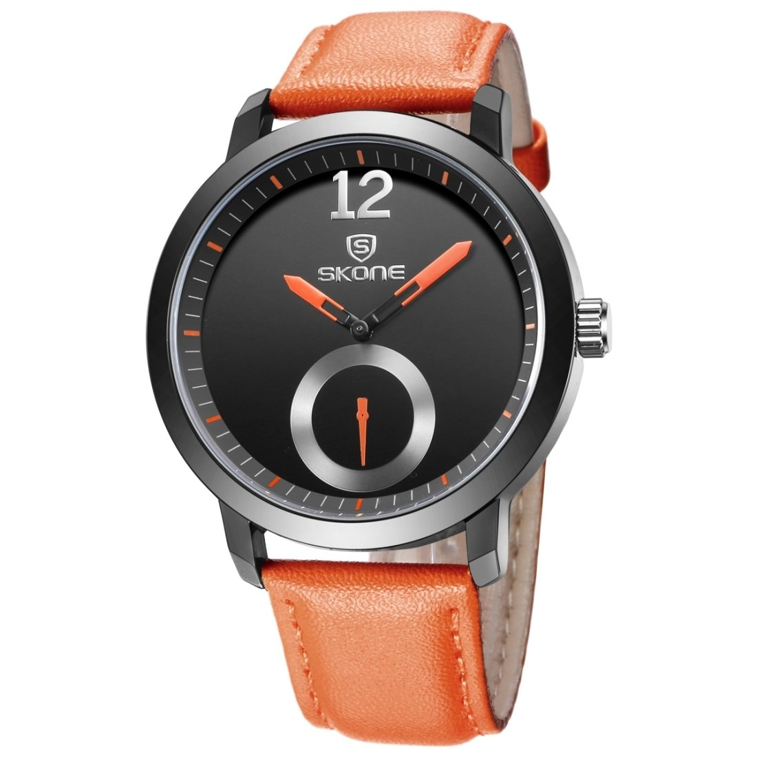 Dig dog bone 5015 Simple Round Dial One Decoration Dial Fashion Men Quartz Watch With PU Leather Band (Color : Orange)