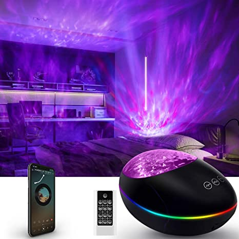 Amazon Com Galaxy Projector Led Star Night Light For Bedroom Starry Skylight For Adults Or Kids Light Up Ceiling With Ocean Wave Nebula Aurora 3 In 1 Lamp With Bluetooth Speaker Aesthetic Game