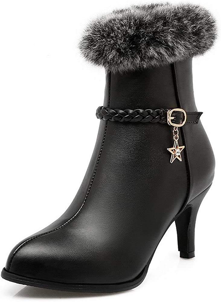 AmoonyFashion Womens Solid High Heels Round Closed Toe Pu Zipper Boots