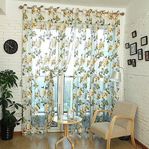 Eclipse Cup Pull (YOOYOO 106 x 39 inch Door Room Flower Tull Window Screening Curtain Drape for Bathroom Living Room (YELLOW))