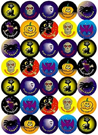 37mm Halloween stickers: 'Happy Halloween': mixed images: 70 stickers