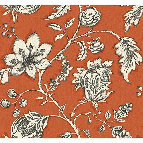 York Wallcoverings MS6452 Modern Shapes Jardin Wallpaper, Orange, Brown, Off White - Orange Flower Wallpaper