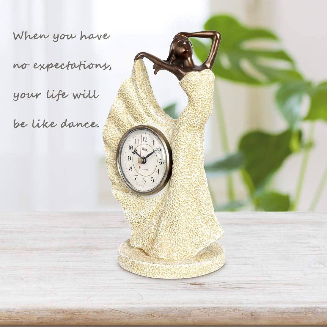 14 Bronze Sculpture Mantel Clock Resin Beauty Street Lamp Clock Decoration Living Room Bedroom Sculptural Clock /…