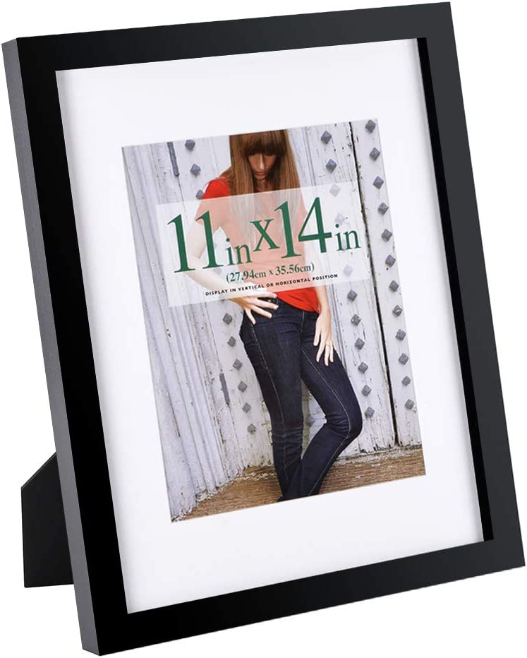 RPJC 11x14 inch Picture Frame Made of Solid Wood and High Definition Glass Display Pictures 8x10 with Mat or 11x14 Without Mat for Table Top Display and Wall Mounting Photo Frame with Stand Black