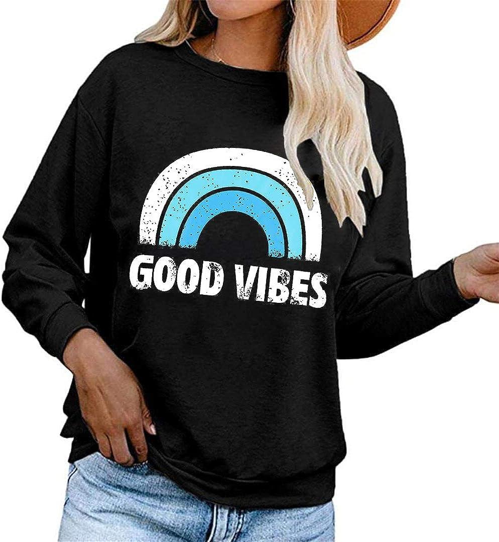 Sweatshirt Good Vibes Letter Rainbow Printed Long Sleeve O Neck Sweatshirt S-XL