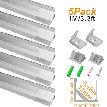 5 Pack 1m//3.3ft LED Channel for LED Strip Lights Jirvyuk Aluminum Led Profile