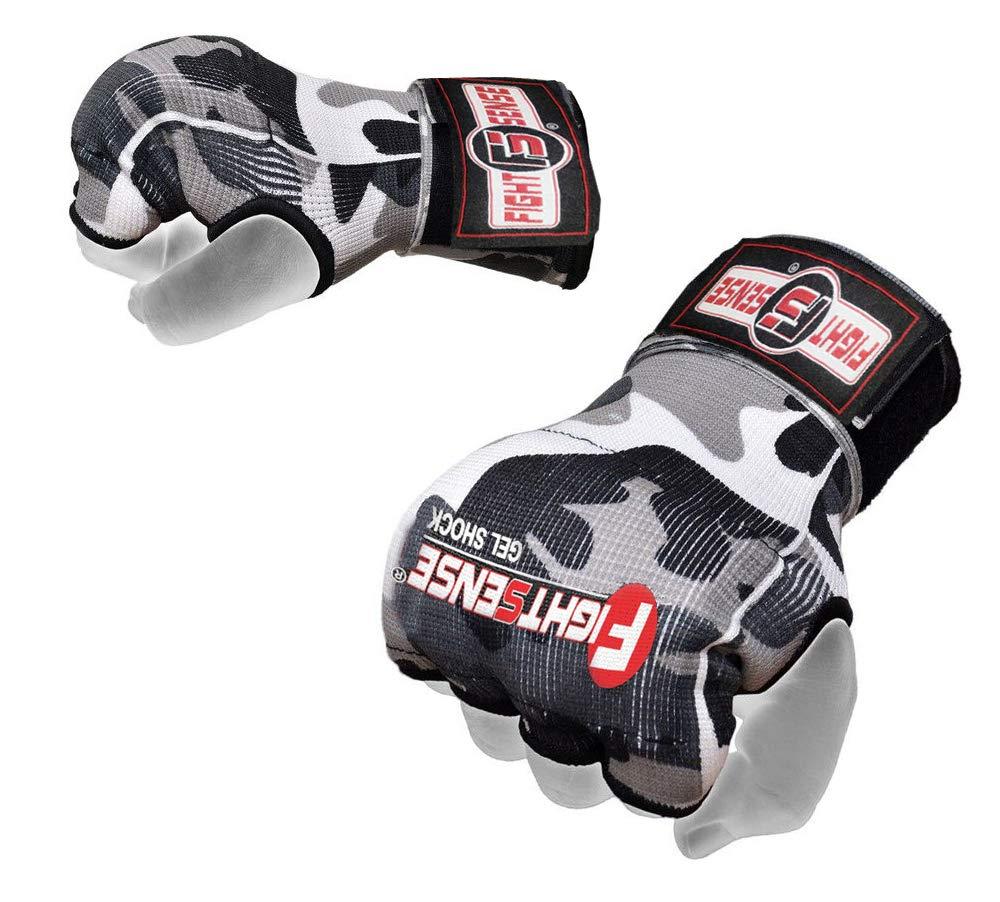 FIGHTSENSE パッド入りジェルインナーグローブ ロングラップ ボクシング MMA 手首 ハンドラップ ムエタイ アンダーグローブ トレーニング ペア Camo Gray Medium