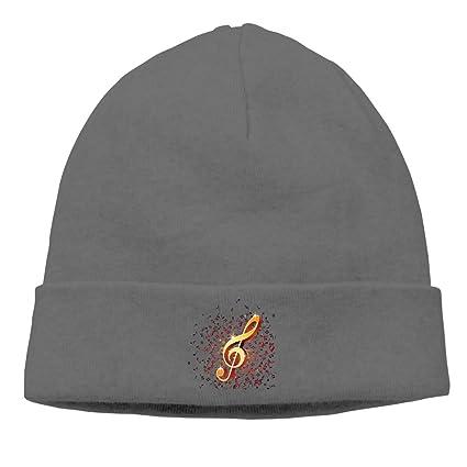Adult Skull Cap Beanie Musical Notation Knitted Hat Headwear Winter Warm Hip-hop Hat