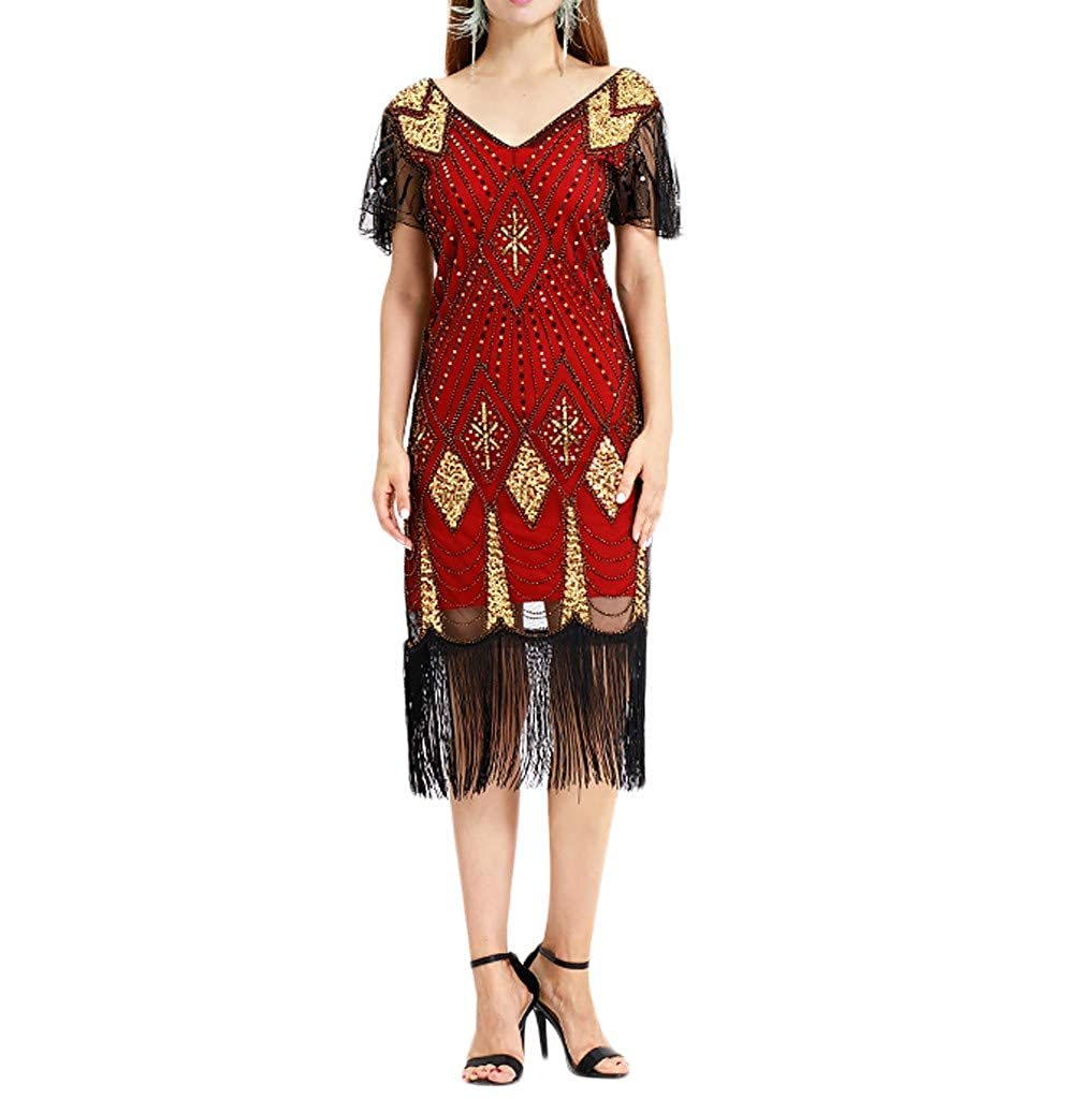 Palarn Fashion Dress /& Tops Women Vintage 1920s Bead Fringe Sequin Lace Party Flapper Cocktail Prom Dress