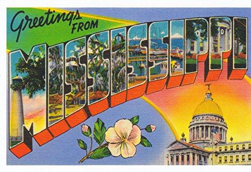 STATES04MIS - GREETINGS from MISSISSIPPI Statehood: Dec. 10, 1817; State Bird: Northern MockingBird; - A U.S. State POSTCARD from HibiscusExpress (Postcard Mississippi)