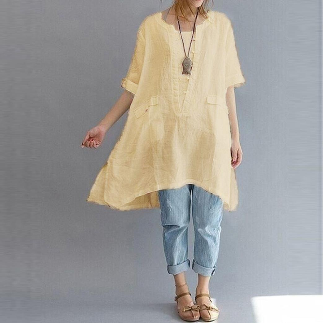 Amazon.com: Oksale Women Plus Size Irregular Fashion Loose Linen Short Sleeved Shirt Vintage Blouse: Clothing