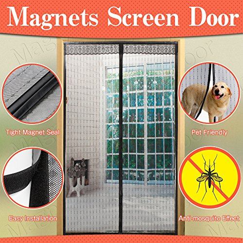 Magnetic Screen Door DIAMOND Shape Heavy Duty Reinforced Mesh and Full Frame Velcro Fits Door Openings Up 34x82 Max
