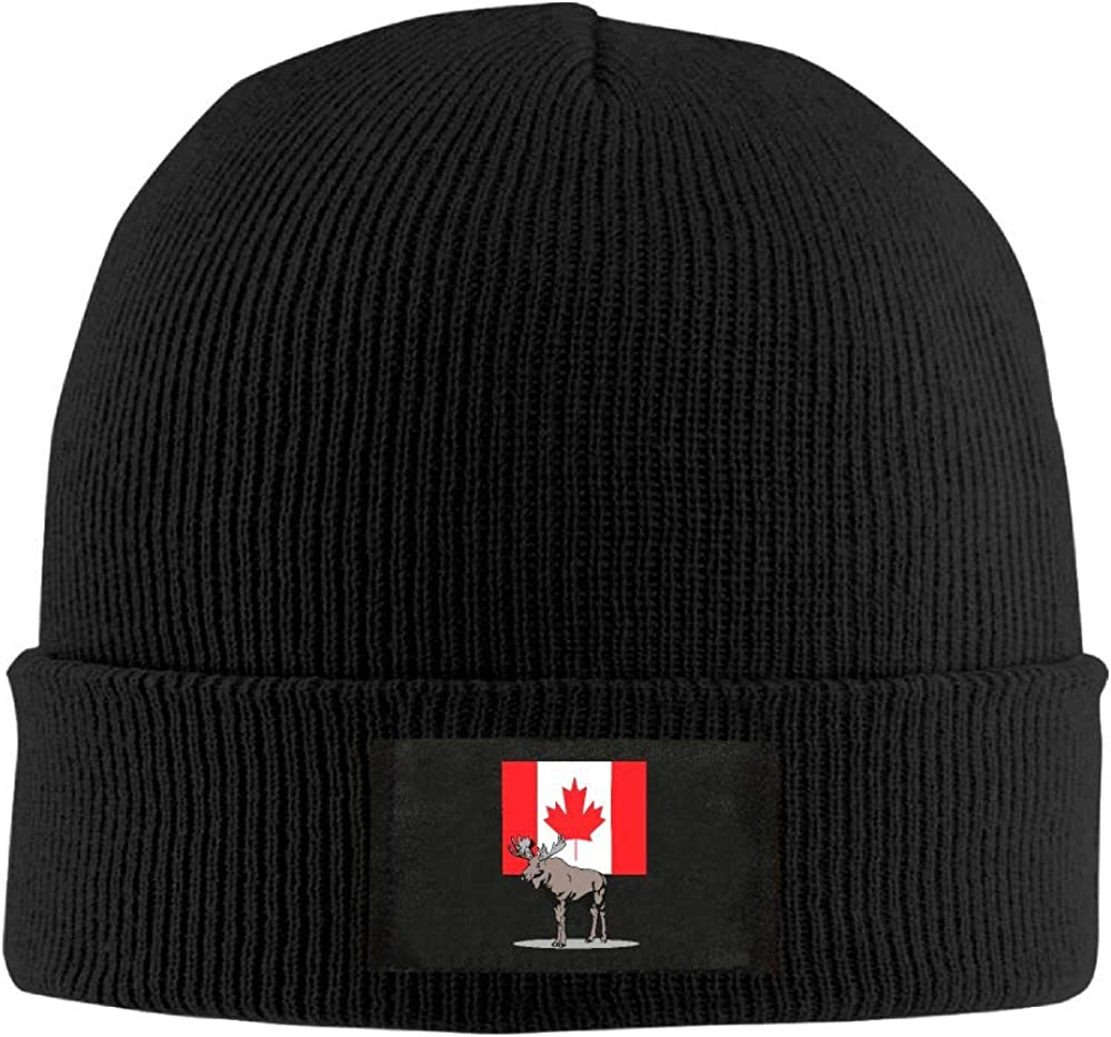DLOAHJZH-Q Adult Unisex Moose and Canadian Flag Outdoor Wool Cap