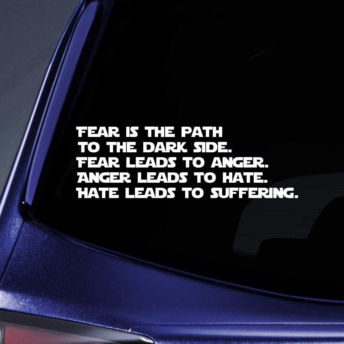 "Bargain Max Decals Fear Dark Side Quote Sticker Decal Notebook Car Laptop 8"" (White)"