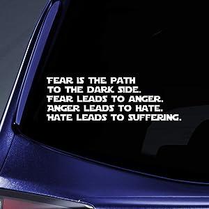 "Bargain Max Decals Fear Dark Side Quote Sticker Decal Notebook Car Laptop 8"" (White)"