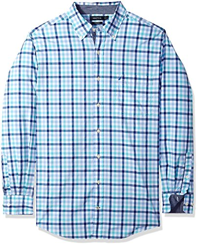 Nautica Men's Big and Tall Classic Fit Stretch Plaid Long Sleeve Button Down Shirt, Bali Bliss, 2XLT