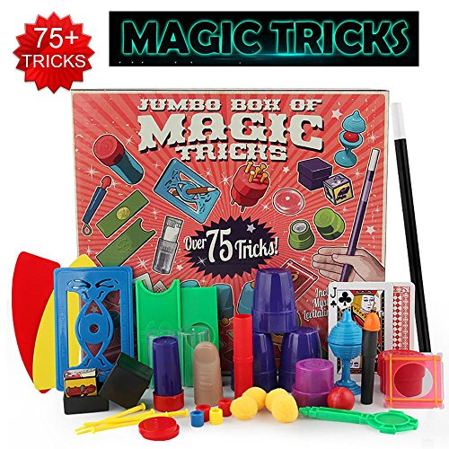 KOBWA Magic Tricks Set with Over 75 Tricks, 17 Exciting Magician Items, Easy Magic Tricks Tools for Kids and Beginners of All Ages, Idea Birthday Gift by KOBWA