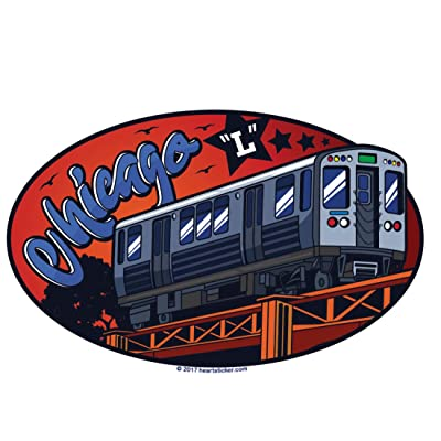 """Chicago Sticker CTA Subway Train   Elevated \""""L\"""" Label   Oval Euro Sticker for Luggage Phone Water Bottle Decal Laptop Cooler Bumper   Bull Bear Cub Sox Windy City Bean Cloud Gate Flag LSD Blackhawk: Arts, Crafts & Sewing [5Bkhe1512703]"""