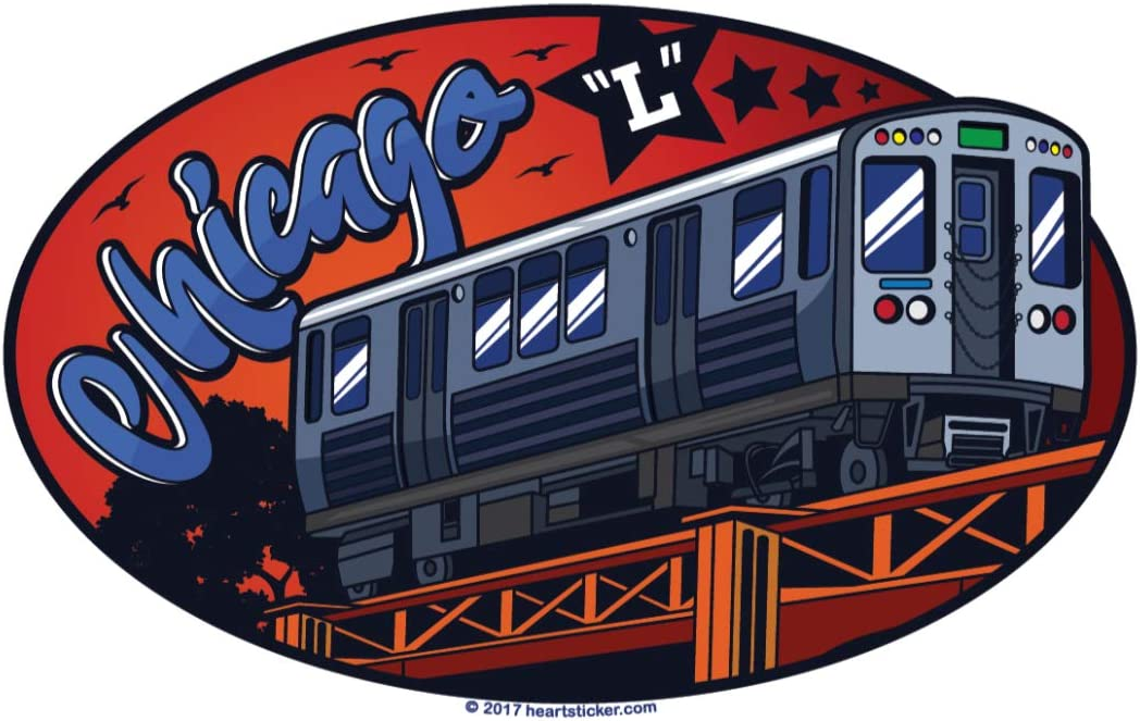 """Chicago Sticker CTA Subway Train   Elevated """"L"""" Label   Oval Euro Sticker for Luggage Phone Water Bottle Decal Laptop Cooler Bumper   Bull Bear Cub Sox Windy City Bean Cloud Gate Flag LSD Blackhawk"""